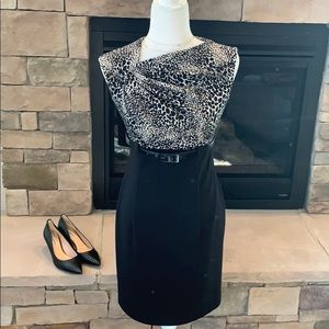 Saks 5th Ave Black and White Belted Dress Size 2